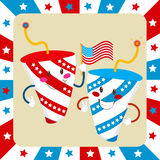 Independence Day Fireworks. Two cute fireworks celebrating independence day waving an American flag royalty free illustration