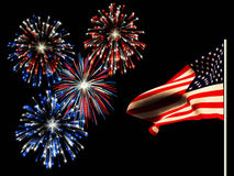 Independence day fireworks and the american flag. Fireworks on the 4th of july and the american flag Royalty Free Stock Photo