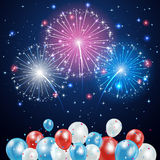 Independence day fireworks and balloons. Independence day background with balloons and fireworks on night sky, illustration Stock Image