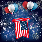 Independence Day Fireworks. Balloons with US-Flag, ribbon and fireworks on the blue background royalty free illustration