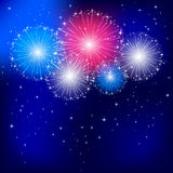 Independence day fireworks. On the dark sky background, illustration Stock Images