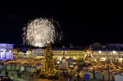 Independence day fireworks in Helsinki, Finland on December 06, Royalty Free Stock Photography