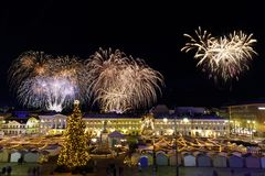 Independence day fireworks in Helsinki, Finland on December 06, Stock Photography