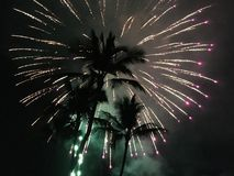 Independence Day Fireworks In Kekaha On Kauai Island In Hawaii. Royalty Free Stock Images