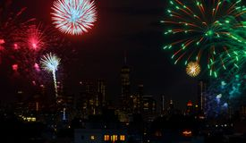 Independence day fireworks over Manhattan, New York city. Independence day fireworks over Manhattan skyline, New York city royalty free stock photography
