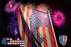 Independence Day, flag on the background of a salute stock illustration