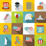 Independence day flag icons set, flat style. Independence day flag icons set. Cartoon illustration of 16 independence day flag vector icons for web Royalty Free Stock Photography