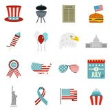 Independence day flag icons set in flat style Stock Photography
