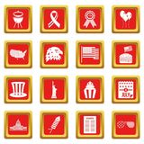 Independence day flag icons set red Royalty Free Stock Photo