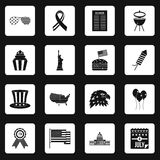 Independence day flag icons set squares vector Royalty Free Stock Photo