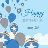 Independence Day Flat Greeting Card. Royalty Free Stock Photo