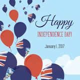 Independence Day Flat Greeting Card. Falkland Islands Malvinas Independence Day. Falkland Islander Flag Balloons Patriotic Poster. Happy National Day Vector Stock Photos