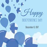 Independence Day Flat Greeting Card. Finland Independence Day. Finnish Flag Balloons Patriotic Poster. Happy National Day Vector Illustration Royalty Free Stock Images