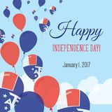 Independence Day Flat Greeting Card. Stock Images