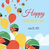 Independence Day Flat Greeting Card. Mozambique Independence Day. Mozambican Flag Balloons Patriotic Poster. Happy National Day Vector Illustration Stock Images