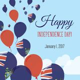 Independence Day Flat Greeting Card. Pitcairn Islands Independence Day. Pitcairn Islander Flag Balloons Patriotic Poster. Happy National Day Vector Stock Image