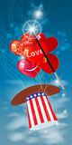 INDEPENDENCE DAY. FOURTH OF JULY. HATS WITH. THE COLOR OF THE AMERICAN FLAG. PRESIDENTIAL HATS USA. AIR BALLS IN THE FORM OF THE HEART. Vertical orientation of Stock Images