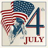 Independence Day - Fourth of July Vector vintage illustration Royalty Free Stock Photos