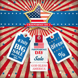 Independence Day Golden Star Price Stickers. Independence day retro flyer with blue banner and colored price stickers Royalty Free Illustration