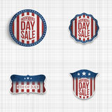 Independence Day greeting Badges Set. Vector Illustration for 4th of July american national Holiday Royalty Free Stock Image