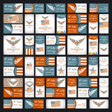 Independence day greeting card with typographic design in vintage style. Stock Photos