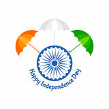 Independence Day greeting with tricolouered umbrella Stock Images