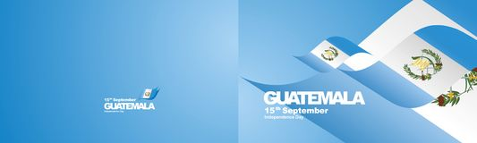 Independence Day Guatemala flag ribbon two fold landscape background. National symbol landmark banner vector vector illustration