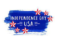 Independence Day hand drawn lettering design vector royalty free stock illustration perfect for advertising, poster Stock Photo