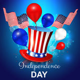 Independence day with hat, balloons and American flag Royalty Free Stock Image