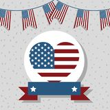 Independence day with heart emblem and ribbon. Vector illustration royalty free illustration