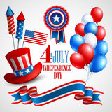 Independence Day holiday symbols. Vector Royalty Free Stock Photography
