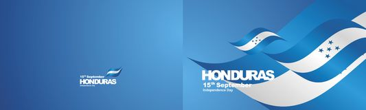 Independence Day Honduras flag ribbon two fold landscape background. National symbol landmark banner vector stock illustration