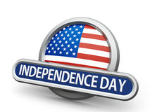 Independence Day icon. Emblem, icon or button with american flag represents Independence Day, isolated on white background, three-dimensional rendering, 3D royalty free illustration