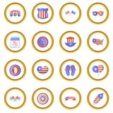 Independence day icons circle. Gold in cartoon style isolate on white background vector illustration Stock Images