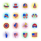 Independence Day icons, comics style. Independence Day icons in comics style on a white background Stock Photography