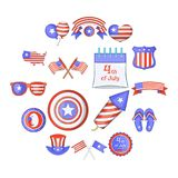 Independence day icons set, cartoon style. Independence day icons set. Cartoon illustration of 16 independence day vector icons for web Stock Photos