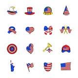 Independence Day icons set cartoon. Independence Day icons set in cartoon style isolated on white background illustration stock illustration