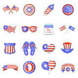 Independence day icons set, cartoon style. Independence day icons set. Cartoon illustration of 16 independence day vector icons for web Royalty Free Stock Photography