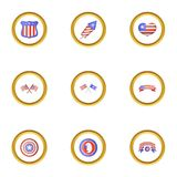 Independence day icons set, cartoon style. Independence day icons set. Cartoon style set of 9 independence day vector icons for web design Royalty Free Stock Photo