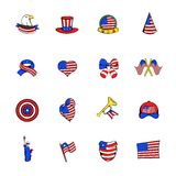 Independence Day icons set cartoon Royalty Free Stock Photo