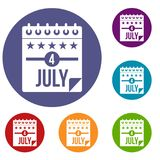 Independence day icons set. In flat circle red, blue and green color for web Stock Photo