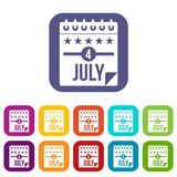 Independence day icons set flat Royalty Free Stock Photos