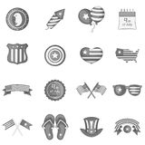 Independence day icons set monochrome Royalty Free Stock Photography