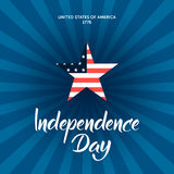 Independence Day illustration with modern calligraphy and patrio Stock Photos