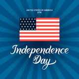 Independence Day illustration with modern calligraphy and patrio Royalty Free Stock Images
