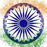 Independence Day of India. 15 August. The colors of the flag are green, white, saffron. Blue wheel with 24 spokes. Grunge background Stock Images