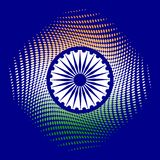 Independence Day of India. 15 August. The colors of the flag are green, white, saffron. Blue wheel with 24 spokes. Blue background Stock Image