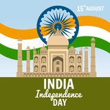 Independence Day of India, August 15, holiday, national flag, building of Taj Mahal, vector, illustration, isolated. Independence Day of India, August 15 Royalty Free Stock Images