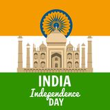Independence Day of India, August 15, holiday, national flag, building of Taj Mahal, vector, illustration, isolated. Independence Day of India, August 15 vector illustration