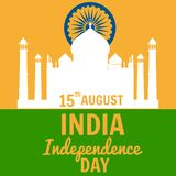 Independence Day of India, August 15, holiday, national flag, building of Taj Mahal, vector, illustration, isolated. Independence Day of India, August 15 royalty free illustration